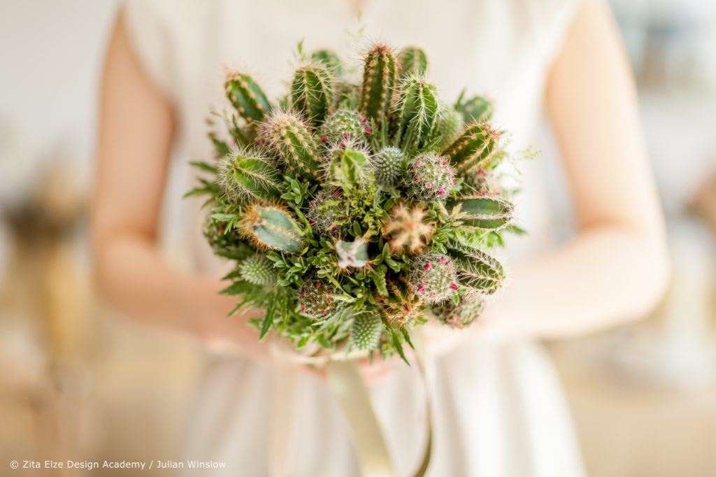 Zita Elze Design Academy Yejina Kim bridal bouquet cactus photo: Julian Winslow 6150_wm