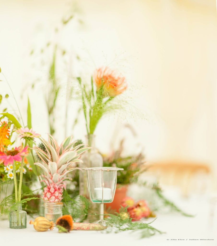 Zita Elze Wedding Flowers - Zimbabwean British Fusion Wedding - allium, crocosmia, roses, dahlia, protea and fresh fruit table decorations. Photograhy Julian Winslow lp-28_wm