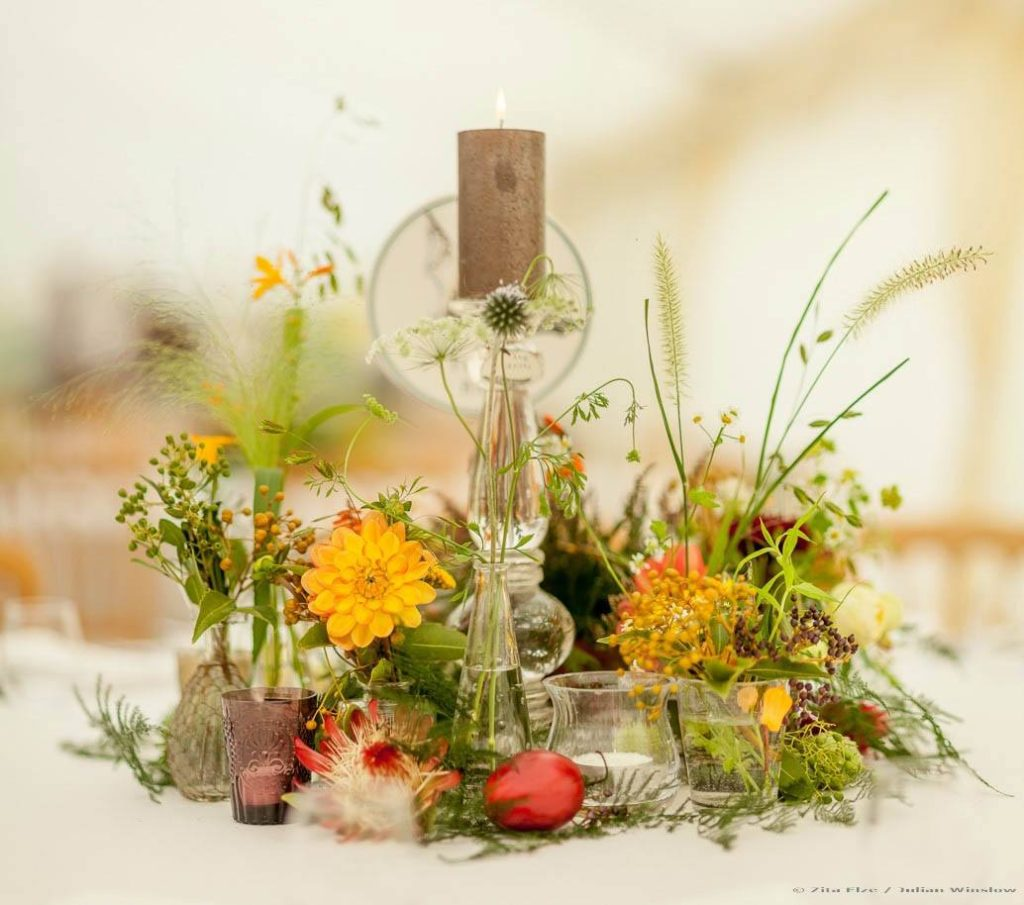 Zita Elze Wedding Flowers - Zimbabwean British Fusion Wedding - allium, crocosmia, roses, dahlia, protea and fresh fruit table decorations. Photograhy Julian Winslowlp-33-c_wm