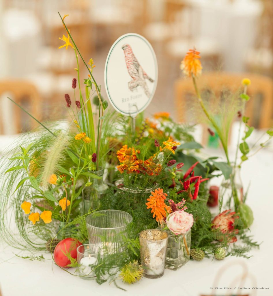 Zita Elze Wedding Flowers - Zimbabwean British Fusion Wedding - allium, crocosmia, roses, dahlia, protea and fresh fruit table decorations. Photograhy Julian Winslow lp-47_wm