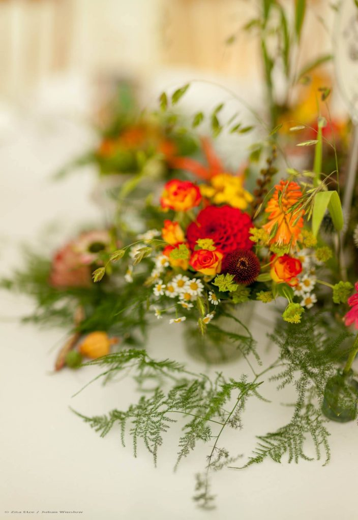Zita Elze Wedding Flowers - Zimbabwean British Fusion Wedding - allium, crocosmia, roses, dahlia, protea and fresh fruit table decorations. Photograhy Julian Winslow lp-65_wm