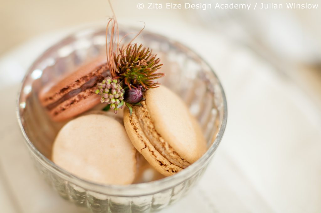 Zita Elze Design Academy Kwak Eun Seo bridal buttonhole design with pastel macarons Wedding Master Class photo: Julian Winslow