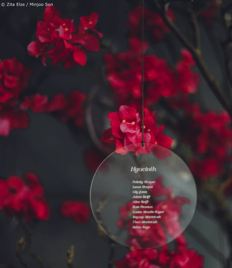 Rouge bougainvillea table plan tree with acrylic discs by Zita Elze wedding flowers photo Minjoo Son