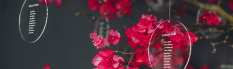 Rouge bougainvillea table plan tree by Zita Elze wedding flowers photo Minjoo Son