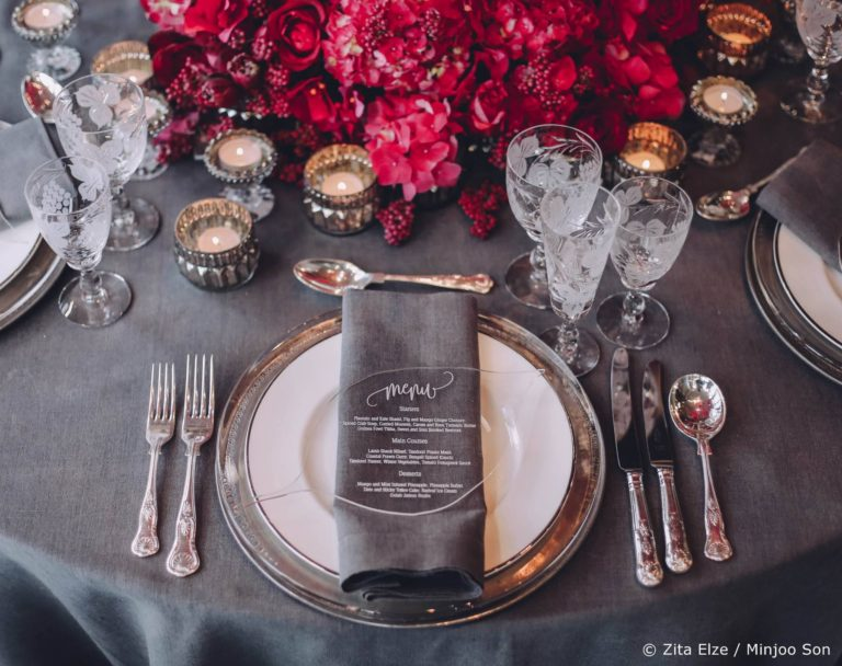 Hot pink, rouge and dove grey for Zita Elze wedding flowers top table design photo Minjoo Son