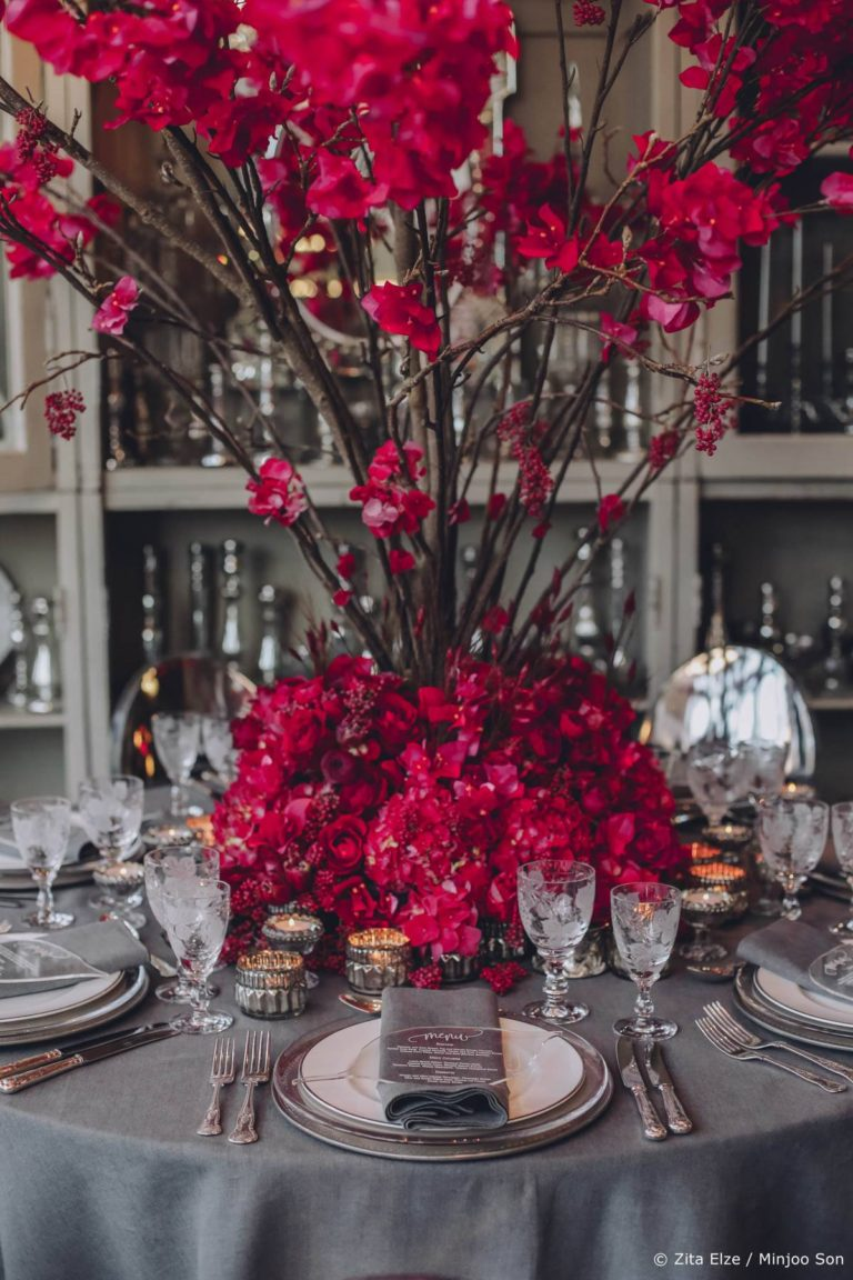 Hot pink and rouge bougainvillea floral table centrepiece by Zita Elze wedding flowers photo Minjoo Son