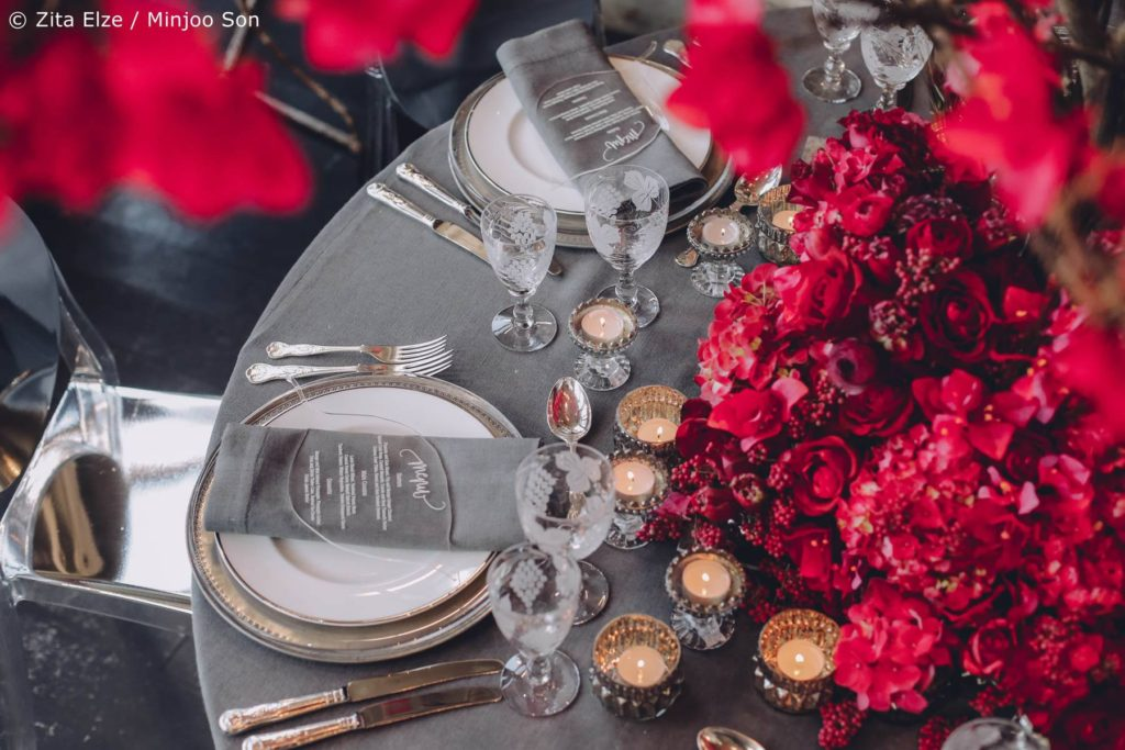 Rouge bougainvillea bridal table centre piece with hand cut leaf menus by Zita Elze wedding flowers, photo by Minjoo Son