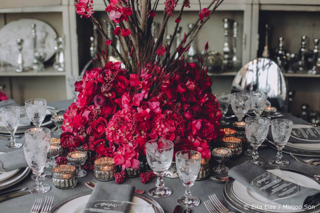Rouge bougainvillea bridal table centre piece by Zita Elze wedding flowers, photo by Minjoo Son