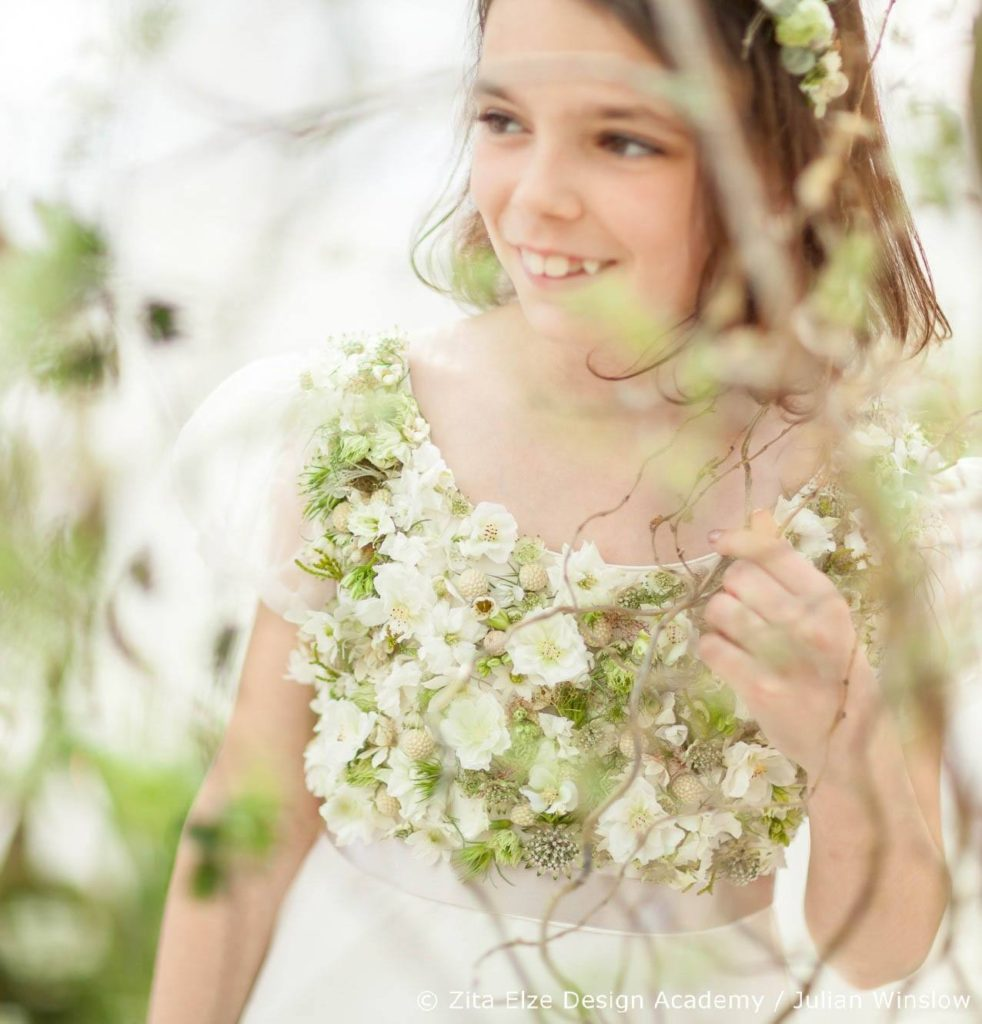 Zita Elze Design Academy wedding flowers project at Kew Gardens' Nash Conservatory Little Bevan dress with floral embroidery Photo: Julian Winslow 7063s