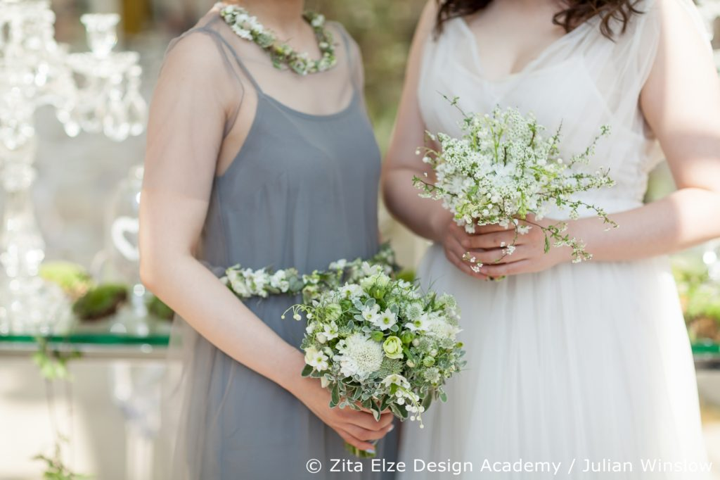 Zita Elze Design Academy bridal design project at Kew Gardens' Nash Conservatory bridesmaid's and bride's bouquets, bride's dress by Shehurina Photo: Julian Winslow 7351