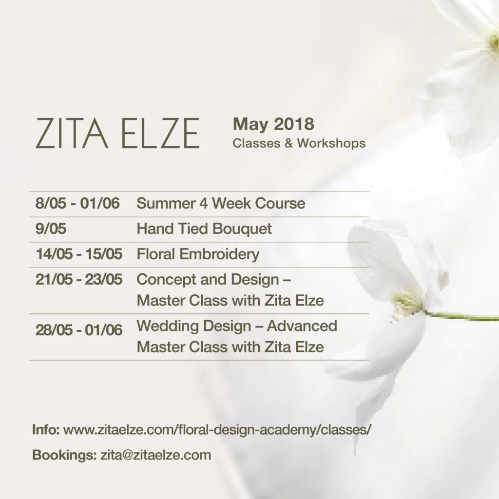 Zita Elze Design Academy May 2018 Classes and Workshops